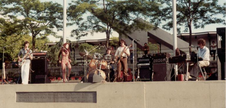 Allan Loucks on keyboards with Racer at Bumbershoot 1981